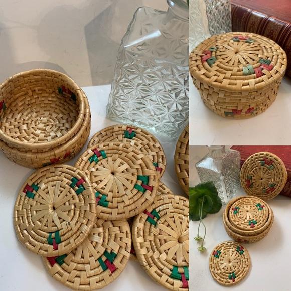 Vintage Seagrass woven coasters set Boho Jungalow